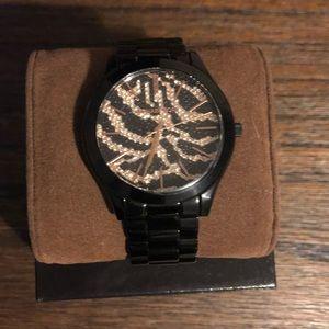Michael Kors 🐯 Print Bedazzled Black Watch